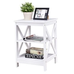 Giantex 3-Tier X-Design Nightstand Organizer End Table Storage Display Shelf Living Room Furnitu ...