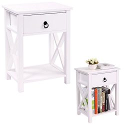 JAXPETY Set of 2 White Finish X-Design Side End Table Night Stand Storage Shelf with Bin (2PCS)