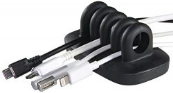 Desktop Cable Organizer, Weighted, No Bad Smell, Bundled with 2 Reusable Silicone Twist Ties (Black)