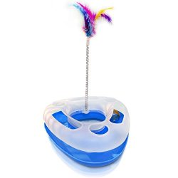 SatisPet Cat Toy with Spring Bird Feather in Blue – Interactive Track Ball Toys for Cats a ...