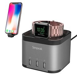 Simpeak Aluminum 4 Port USB Charger Stand for Apple Watch 1/2/3 [Nightstand Mode], with Phone Ho ...