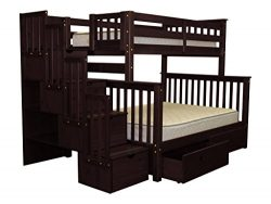 Bedz King Stairway Bunk Beds Twin over Full with 4 Drawers in the Steps and 2 Under Bed Drawers, ...