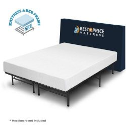 Best Price Mattress 8″ Comfort Premium Memory Foam Mattress and Bed Frame Set, Twin