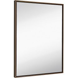 Clean Large Modern Copper Frame Wall Mirror | Contemporary Premium Silver Backed Floating Glass  ...
