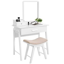 SONGMICS Vanity Table Set with Square Mirror and Makeup Organizer Dressing Table 1 Large Drawer  ...