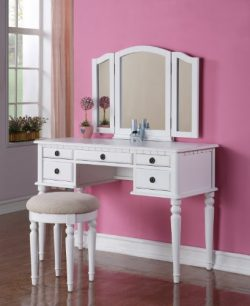 3 pc White finish wood make up bedroom vanity set with curved legs stool and tri fold mirror wit ...