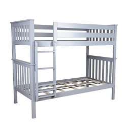 Max & Lily Solid Wood Twin over Twin Bunk Bed, Grey
