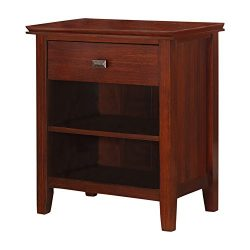 Simpli Home Artisan Solid Wood Bedside Table, Medium Auburn Brown, Standard