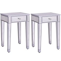Giantex 2 Pcs Mirrored End Table Nightstand w/ One Drawer Home Accent Table Bedside Storage Cabi ...