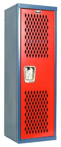 Hallowell Home Team Locker, 15″W x 15″D x 48″H, Blue Body / Red Door, Single T ...