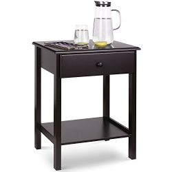 HOMFA Wooden Night Stand with Drawer and Shelf Storage Multipurpose End Side Table Home Furnitur ...