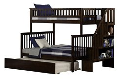 Woodland Staircase Bunk Bed with Urban Trundle, Antique Walnut, Twin Over Full