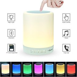 Senmil Table Lamp Night Light Bluetooth Speakers Portable Wireless Music Speaker Smart Touch Sen ...