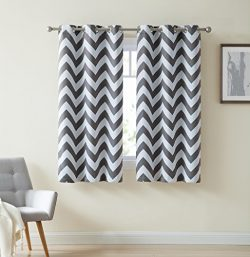HLC.ME Chevron Print Thermal Insulated Room Darkening Blackout Window Curtain Panels for Bedroom ...