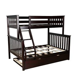 Max & Lily Solid Wood Twin over Full Bunk Bed with Trundle Bed, Espresso