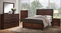 Kings Brand Furniture Aurora 6-Piece Walnut Wood Queen Size Bedroom Set. Bed, Dresser, Mirror, C ...