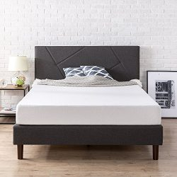 Zinus Upholstered Geometric Paneled Platform Bed with Wood Slat Support, Queen