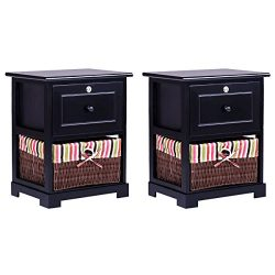 Giantex 2 Pcs 2 Tiers Nightstand End Table Wood Home Furniture Sofa Side Bedside Storage Organiz ...
