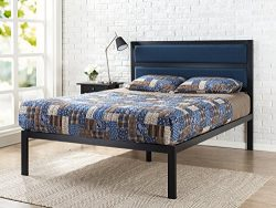 Zinus 16 Inch Platform Bed / Metal Bed Frame / Mattress Foundation with Tufted Navy Panel Headbo ...