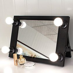 Black Portable Hollywood Style Vanity Mirror with LED Light Bulbs, Folded Lighted Makeup Mirror, ...