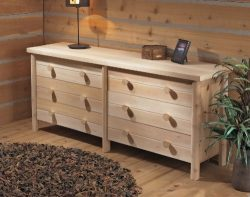 Rustic Natural Cedar Furniture 0200039 Six Drawer Bedroom Furniture Dresser, Natural