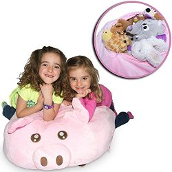 "Jumbo Stuffed Animal Storage Bean Bag – ""SOFT 'n SNUGGLY"" Comfy Fabric Kids Love – M ..."