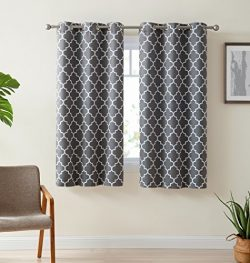 HLC.ME Lattice Print Thermal Insulated Room Darkening Blackout Window Curtain Panels for Bedroom ...