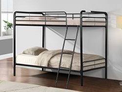 Merax Twin-Over-Twin Metal Bunk Bed with Ladder, Multifunctional Design, Space Saving (black)