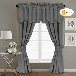Grey Blackout Curtain Panels for Bedroom/Living Room – 6 PCS Set of H.Versailtex Thermal I ...
