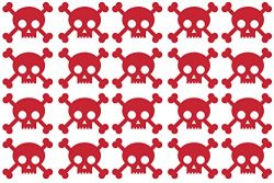 20 x skull & crossbones shaped vinyl Stickers, each approx 1″ – 1 1/2″ wid ...