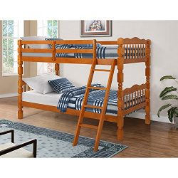 Harper & Bright Designs Twin Over Twin Solid Wood Bunk Bed (oak)