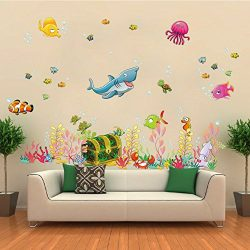 ElecMotive Under the Sea Decals Whales The Deep Blue Sea Decorative Peel Vinyl Wall Stickers Wal ...
