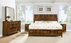 Roundhill Furniture Calais Solid Wood Construction Bedroom Set with Bed, Dresser, Mirror, 2 Nigh ...