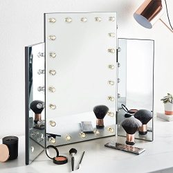 Beautify Trifold Hollywood Vanity Mirror – Tri-fold Lighted Makeup Mirror for Vanity Table