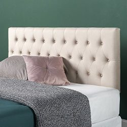 Zinus Upholstered Modern Classic Tufted Headboard in Taupe, Full