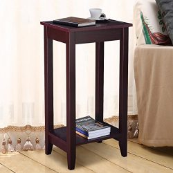 Casart Tall End Table Coffee Stand Night Side Nightstand Accent Furniture Brown