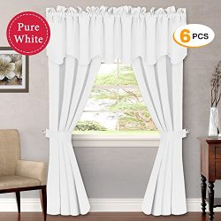 (Set of 6) Pure White Curtains Panels for Bedroom – Ultimate Luxury and Soft Window Treatm ...