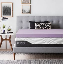 LUCID 4 Inch Lavender Infused Memory Foam Mattress Topper – Ventilated Design – Quee ...