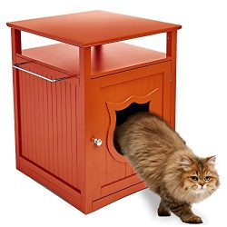 Walnut Nightstand Cat House and Litter Box Cover – Designer Indoor Wooden Furniture Pet Cr ...