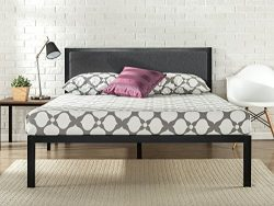 Zinus 14 Inch Platform Metal Bed Frame with Upholstered Headboard / Mattress Foundation / Wood S ...