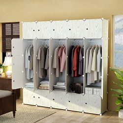 KOUSI Portable Closet Wardrobe Armoire Storage Organizer for Bedroom , 25 cube White/Wooden Print