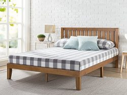 Zinus 12 Inch Wood Platform Bed with Headboard / No Box Spring Needed / Wood Slat Support / Rust ...