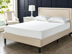 Zinus Deluxe Upholstered Nailhead Trim Platform Bed with Wood Slat Support, Twin