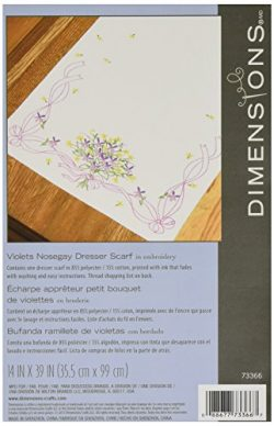 Dimensions Needlecrafts Embroidery, Violets Nosegay Dresser Scarf