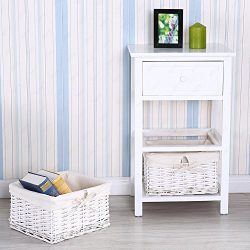 UenJoy Retro White Shabby Chic Nightstand End Side Bedside Table w/Wicker Storage Wood