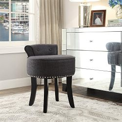 Taylor Grey Linen Vanity Stool – Nailhead Trim | Roll Back|Button Tufted|Bedroom|Inspired Home