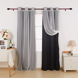 Deconovo Grommet Top Mix and Match Curtain Set 2 Black Thermal Insulated Blackout Curtains with  ...