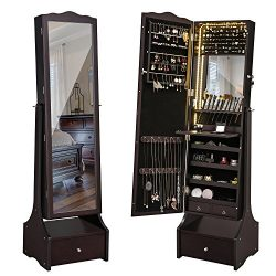SONGMICS LED Jewelry Cabinet Lockable Jewelry Armoire Organizer with Mirror, Makeup Tray and Lar ...