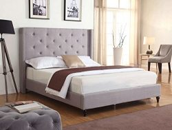 Home Life Premiere Classics Cloth Light Grey Silver Linen 51″ Tall Headboard Platform Bed  ...