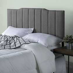 Zinus Upholstered Channel Stitched Headboard in Grey, Queen